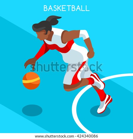 Basketball Player Athlete 2016 Summer Games Icon.3D Isometric Black Basketball Player Athlete.United States USA Sporting Competition.Sport Basket Infographic Basketball olympics Vector Illustration. - stock vector