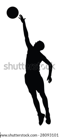 Basketball player black silhouette vector illustration isolated on white background. - stock vector