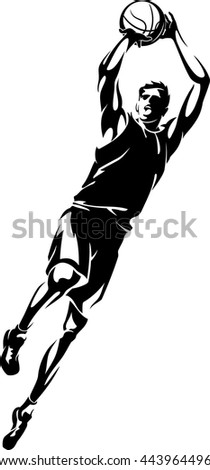 Basketball Player Fade Away Jump Shot - stock vector