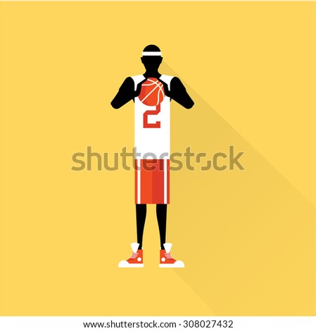 basketball player flat - stock vector
