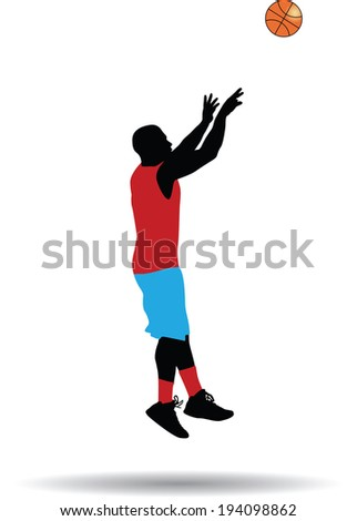 basketball player jump shot silhouette vector - stock vector
