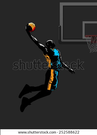 Basketball player jumps to dunk - stock vector