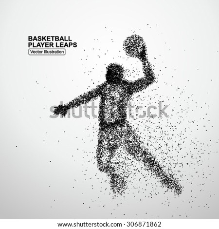 Basketball player leaps - stock vector