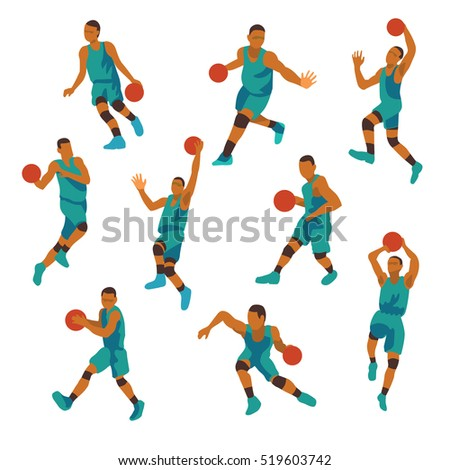 Basketball player nine position,isolate on white background ,Vintage color,Vector EPS 10.