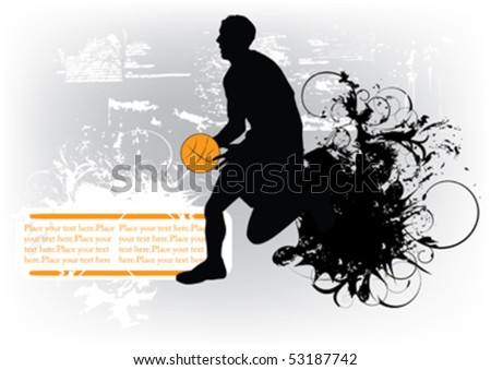 basketball player on grunge background