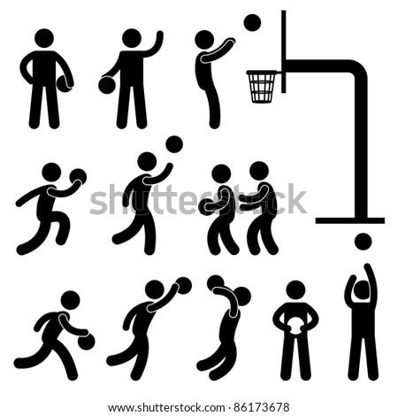 Basketball Player People Icon Sign Symbol Pictogram - stock vector