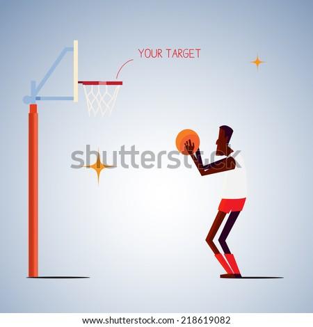 basketball player preparing to shoot  .life goal concept - vector illustration - stock vector