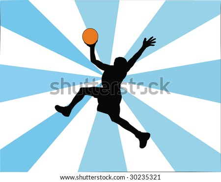 basketball player silhouette - stock vector