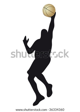 basketball player silhouette with ball in the hand