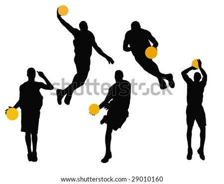basketball player silhouettes - stock vector
