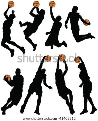 basketball player silhouettes - vector - stock vector