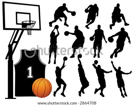 Basketball Player Silhouettes - Vector.
