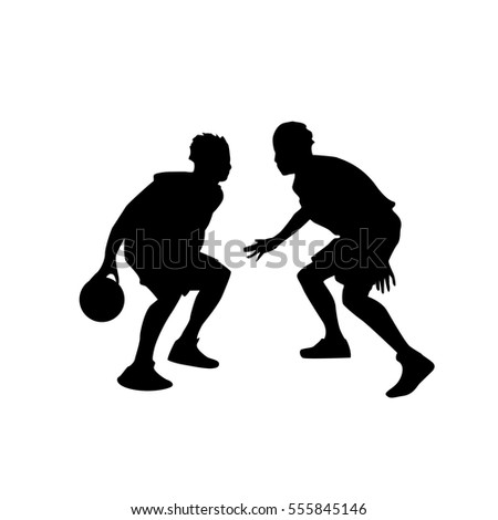 basketball player sportsman sport competition black silhouette man flat vector illustration