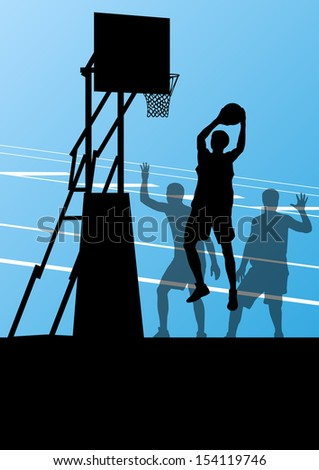 Basketball player vector abstract background concept landscape vector - stock vector