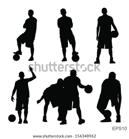Basketball player vector silhouette set with Vector EPS10 - stock vector