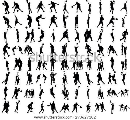 Basketball players black silhouette vector illustration isolated on white background. - stock vector