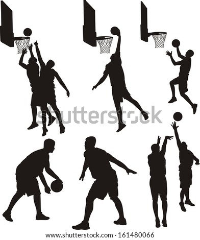 basketball players - silhouette - stock vector