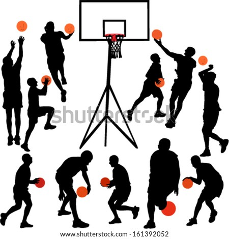 Basketball players - vector - stock vector