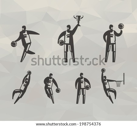 Basketball players. Vector format - stock vector