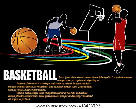 Basketball poster background with players silhouette on black, vector illustration - stock vector