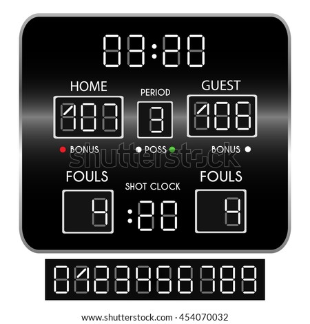 Basketball scoreboard. Score and numbers. Vector illustration
