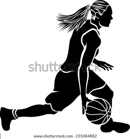 Basketball silhouette of a female basketball player dribbling. - stock vector