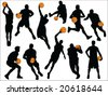 basketball silhouette vector collection - stock vector