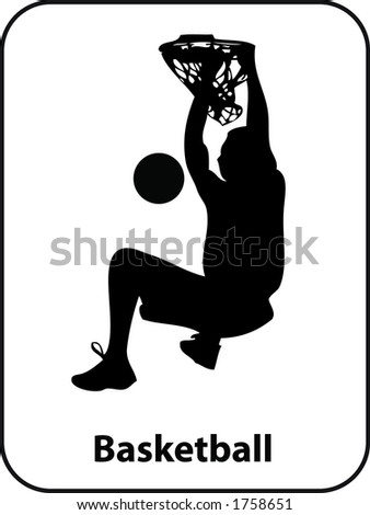 Basketball Slam dunk Sport Sign in Vector Format - stock vector