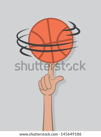Basketball spinning on top of finger  - stock vector