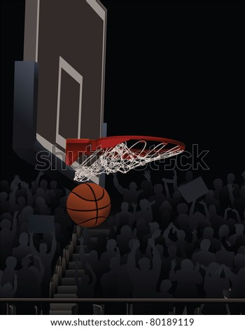 Basketball Swishing Through A Basketball Hoop With Fans in Background - stock vector