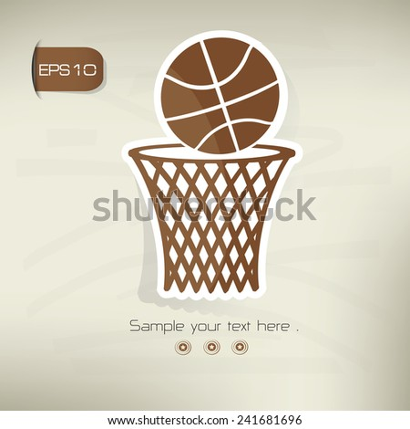 Basketball symbol,sticker design,brown version,clean vector - stock vector