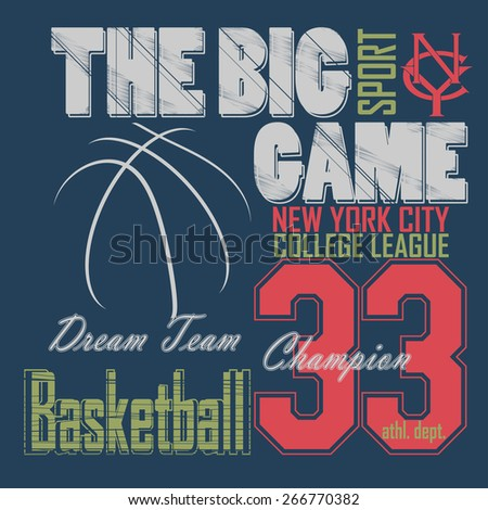Basketball t-shirt graphic design. New York City College League typography emblem,  Print for sportswear apparel - vector illustration  - stock vector