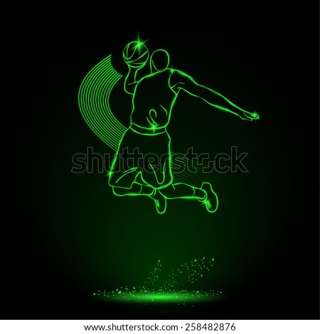 Basketball. Throw the ball, Slam. neon style - stock vector