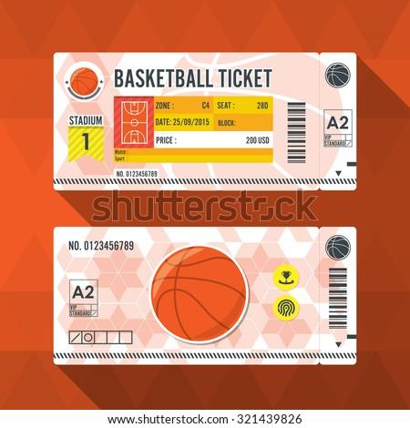 Basketball ticket card modern element design. - stock vector