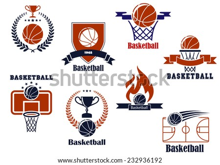 Basketball tournament and emblem designs with wreath, ball, - stock vector