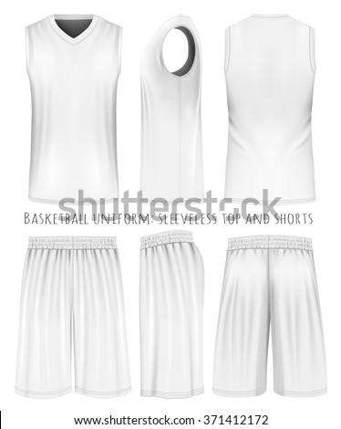 basketball uniform sleeveless top shorts front stock vector