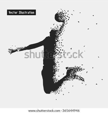 Basketball. Vector eps10 illustration. Particle divergent composition - stock vector