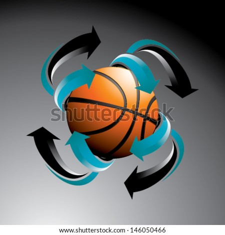 Basketball with arrows - stock vector