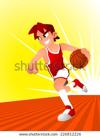 basketball young player running through the court. - stock vector