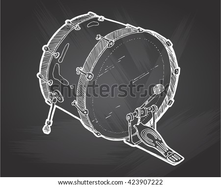 Bass Drums Sketch Drawing Isolated On Chalkboard Background Hand Vector Illustration Drum Doodle