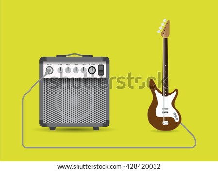Bass guitar and combo, vector illustration. - stock vector