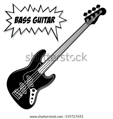 Bass Guitar 4 Strings Vector Black And White Illustration