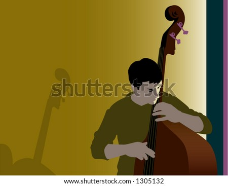 Bass Player in Subdued Light - stock vector