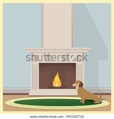 Basset Hound near the fireplace on green carpet. Vector illustration. - stock vector