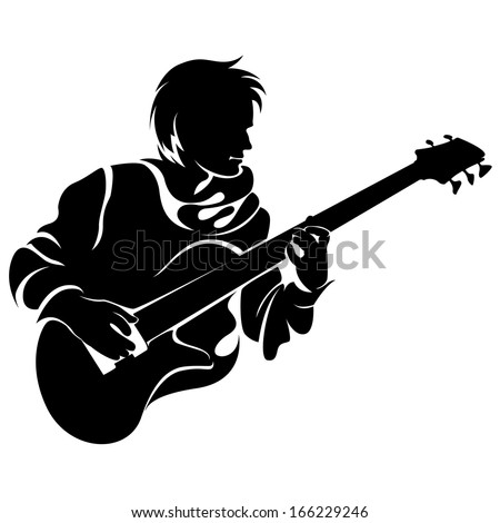 bassist, silhouette - stock vector
