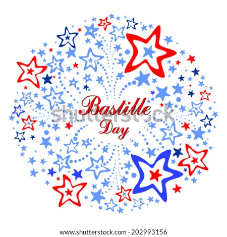 Bastille Day. Celebration background with firework and place for your text. vector illustration  - stock vector