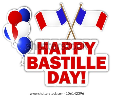 Bastille Day stickers with flags and balloons. 10 EPS. Vector illustration.