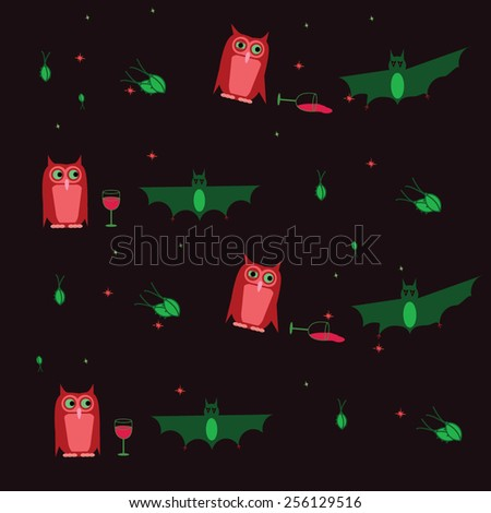 bat and owl drunk pattern vector - stock vector
