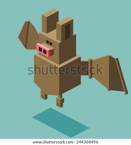 bat. 3d flat isometric vector - stock vector