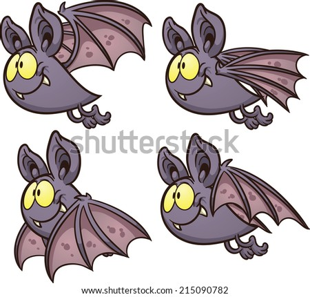 Bat flight cycle. Vector clip art illustration with simple gradients. Each on a separate layer.  - stock vector